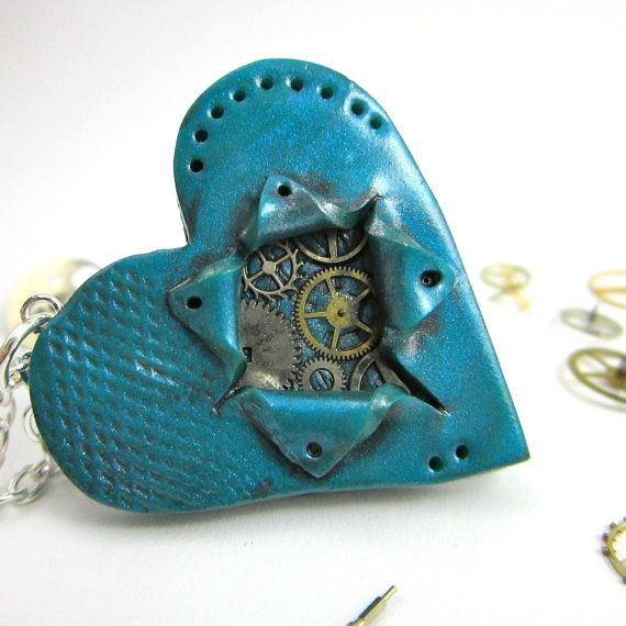 Steampunk Be still my ticking heart necklace ooak by TrenoNights, $15.00