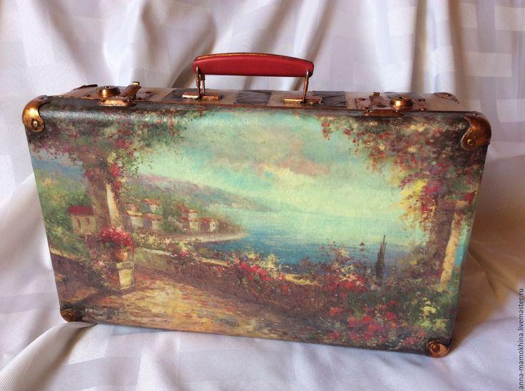 """Купить Чемодан винтажный """"Амальфитанское побережье"""". - рисунок, комбинированный, чемодан, чемодан декупаж, чемодан для игрушек"""