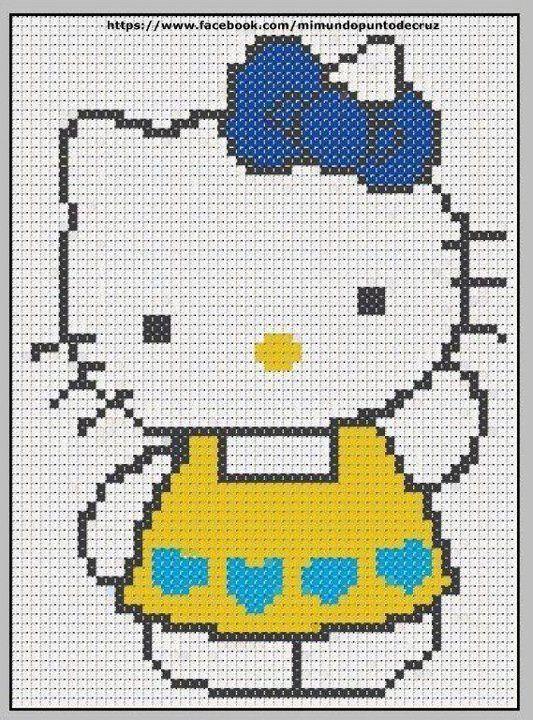 Hello Kitty perler bead pattern                                                                                                                                                      Mais