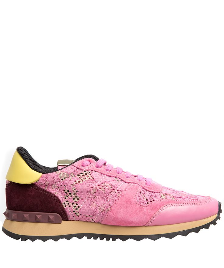 Valentino Pink Rockrunner Lace Leather Trainers | Women's Shoes | Liberty.co.uk