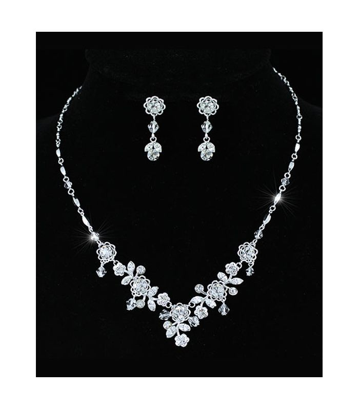 Emma - Austrian Crystal Floral Necklace and Earring Set - http://lily316.com.au/shop/bridal/emma-bridal-set-austrian-crystal-flowers/