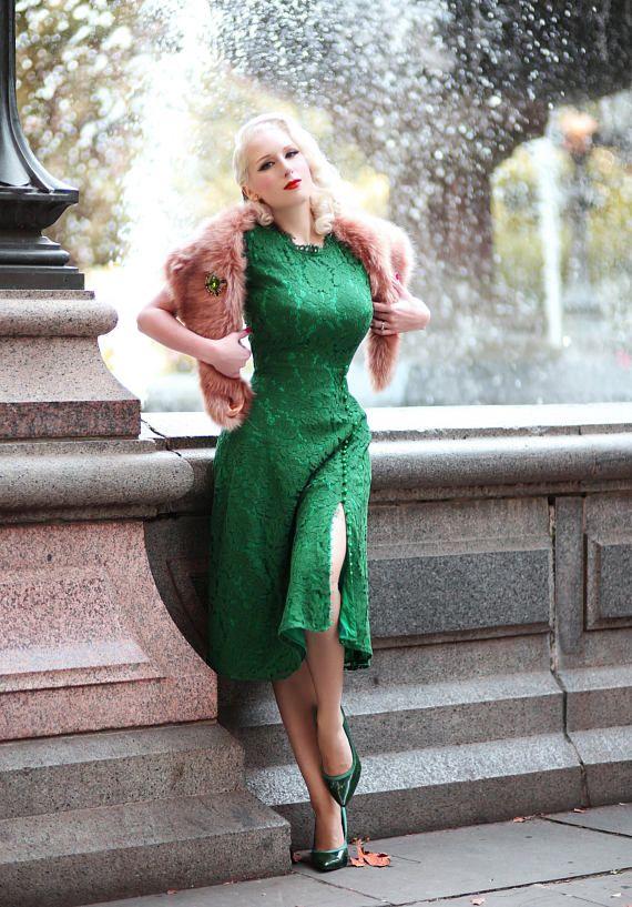 ABIGAIL kant jurk met parel knoppen Aline jurk rockabilly