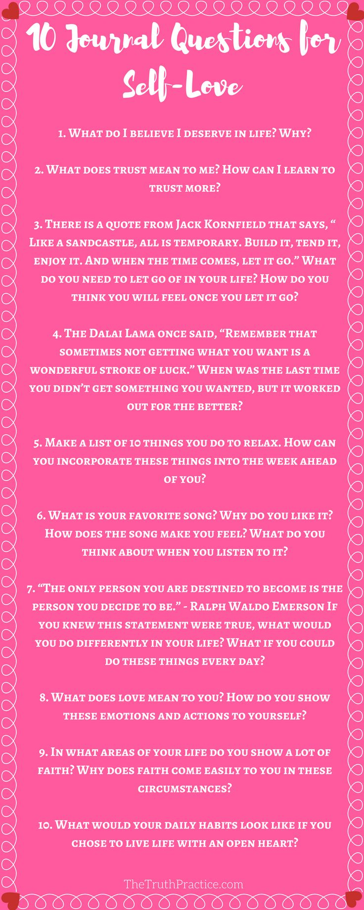 The best place to start practicing self-love is in your mind! You can't figure out what you want if you've never taken the time to ask yourself and then reflect on your answers. Click to read about ALL 20 journaling questions & writing prompts to help you find your authenticity and self-love. Go to TheTruthPractice.com to read about inspiration, authenticity, fulfillment, manifesting your dreams, getting rid of fear, living by intuition, self-love, self-care, words of wisdom, and…