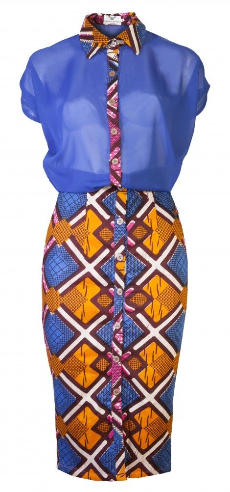 Martha-African print midi dress-Blue diamond - OHEMA OHENE