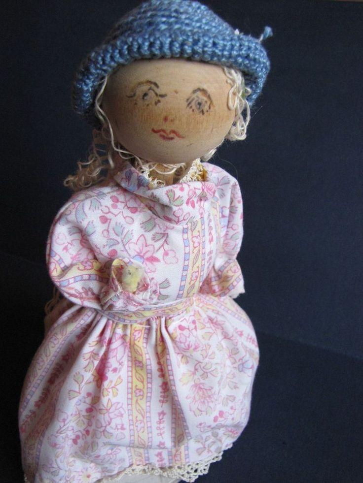 Vintage Wood Swedish People Figure Girl Doll Sweden handmade pink blue white