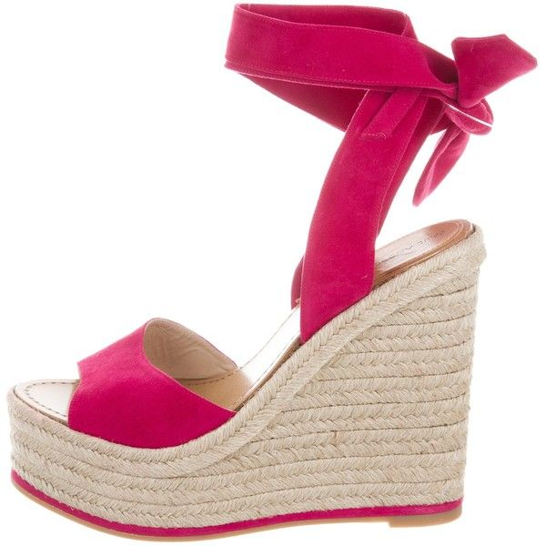 Pre-owned Paul Andrew Suede Espadrille Wedges ($195) ❤ liked on Polyvore featuring shoes, sandals, pink, wedge shoes, lace up espadrille sandals, espadrille sandals, suede lace up sandals and lace up wedge sandals