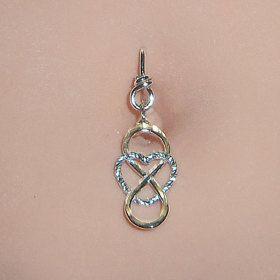 Herz-Bauchnabel-Ring, lange baumeln Infinity Bauchnabel-Ringe, Diamantschliff Sterling Silber Herz-Bauchnabel-Ring, 14 16 18 oder 20 Gauge   – Promote My Craft
