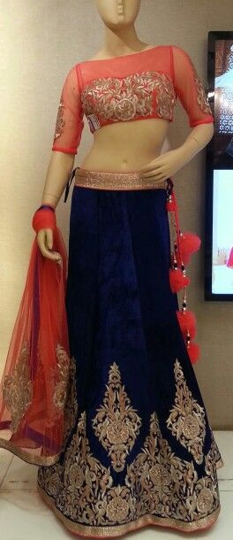 coral and navy lengha