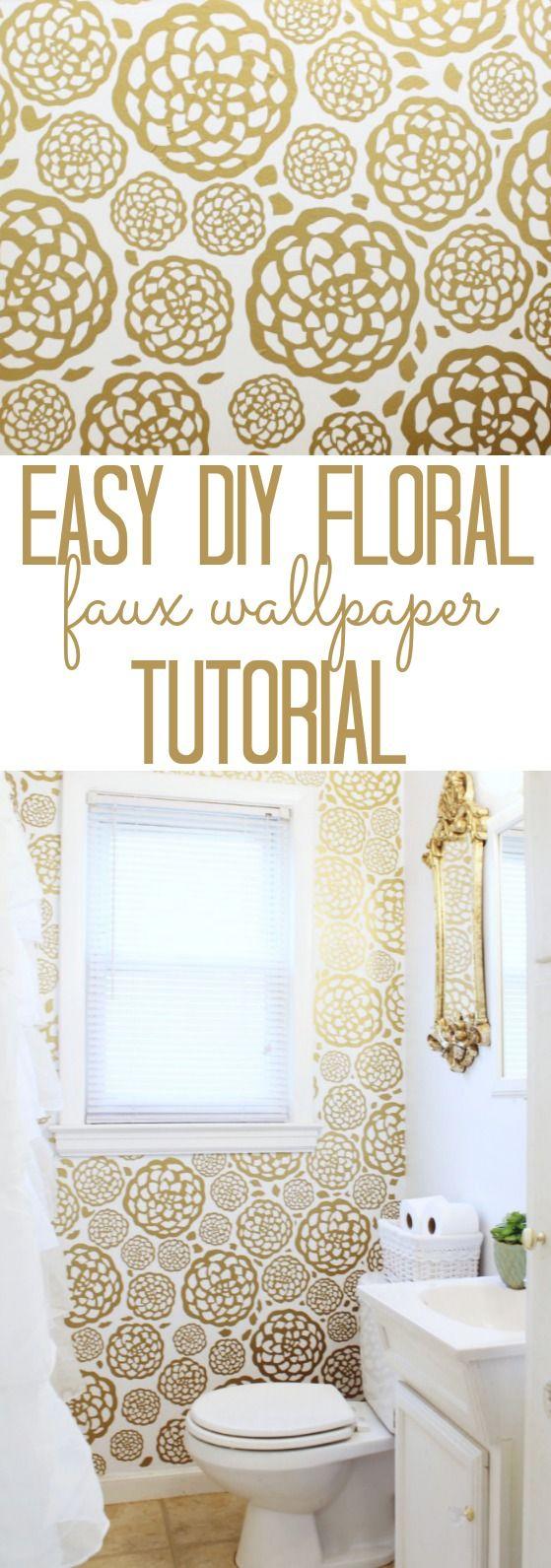 Easy DIY gold Floral Faux Wallpaper Tutorial