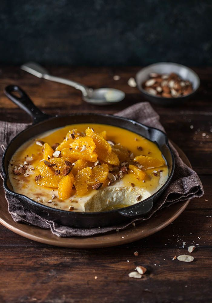baked yoghurt with spicy brandy oranges