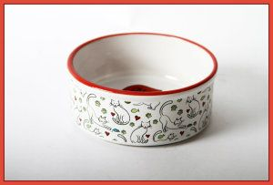 Ceramic Cat Bowls DEI Ceramic Mr. Snugs Cat Collection Feeding Bowl, Red Ceramic Cat Bowls. Perfect size bowl for feeding your cat. It is handcrafted in a Blue Accent Design and is both dishwasher and microwave safe.  http://theceramicchefknives.com/ceramic-cat-bowls, Ceramic Cat Bowls,  DEI Ceramic Mr. Snugs Cat Collection Feeding Bowl