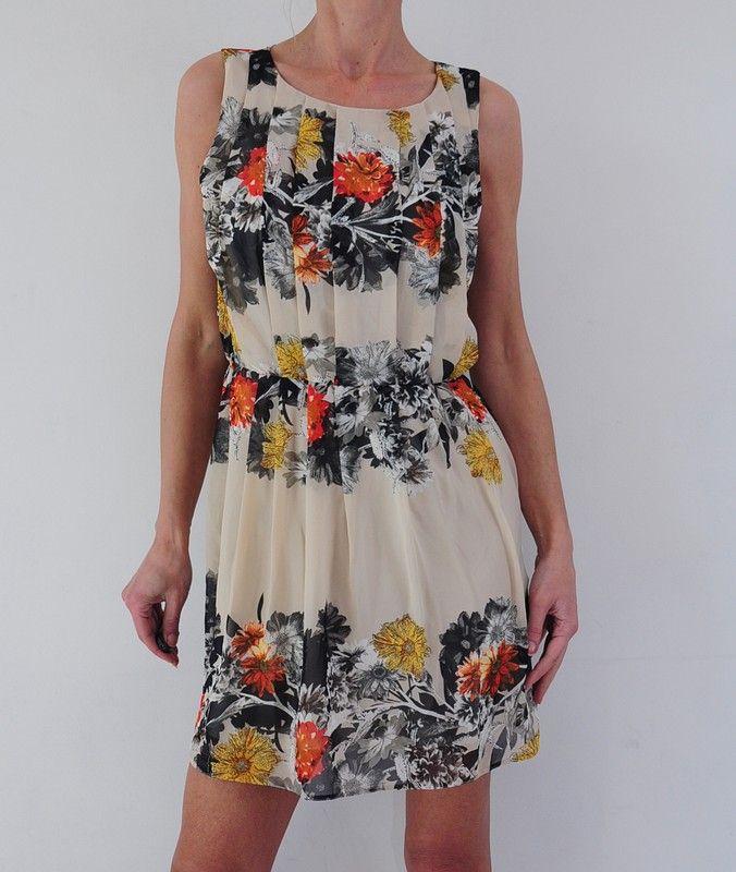 Sukienka Bezowa Kwiaty 38 40 Atmosphere Vinted Dresses Summer Dresses Fashion