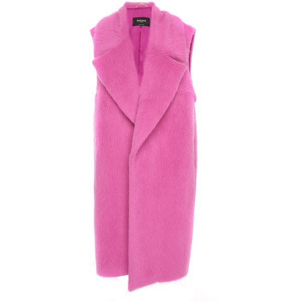 Sleeveless Alpaca Coat   Moda Operandi ($1,310) ❤ liked on Polyvore featuring outerwear, coats, sleeveless coats, pink coats, alpaca coat, midi coat and calf-length coats