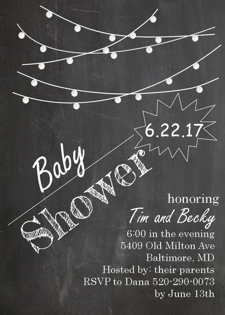 baby shower bbq invitation templates%0A Couples Baby Shower Invitations chalkboard and lights