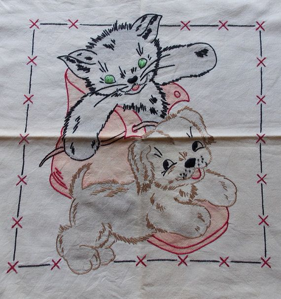 Vintage finished no 249 Vogart small pillow case by BumblePuppy, $24.99