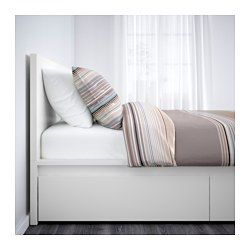 IKEA - MALM, High bed frame/4 storage boxes, Queen, Luröy, , The 4 large drawers on casters give you an extra storage space under the bed.Adjustable bed sides allow you to use mattresses of different thicknesses.17 slats of layer-glued birch adjust to your body weight and increase the suppleness of the mattress.