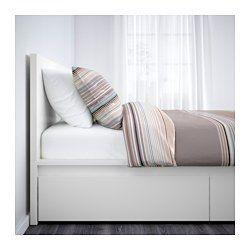 IKEA - MALM, Bettgestell hoch mit 4 Schubladen, 180x200 cm,  , , Die 4 geräumigen Schubladen auf Rollen sorgen für zusätzlichen Stauraum unter dem Bett.Durch verstellbare Bettseiten können Matratzen in verschiedenen Stärken verwendet werden.