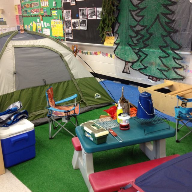 "We set up a dramatic play center that focuses on the outdoors, camping and fishing. We are incorporating literacy by encouraging them to write ""postcards from camp"" and by fishing for magnetic sight word fish."