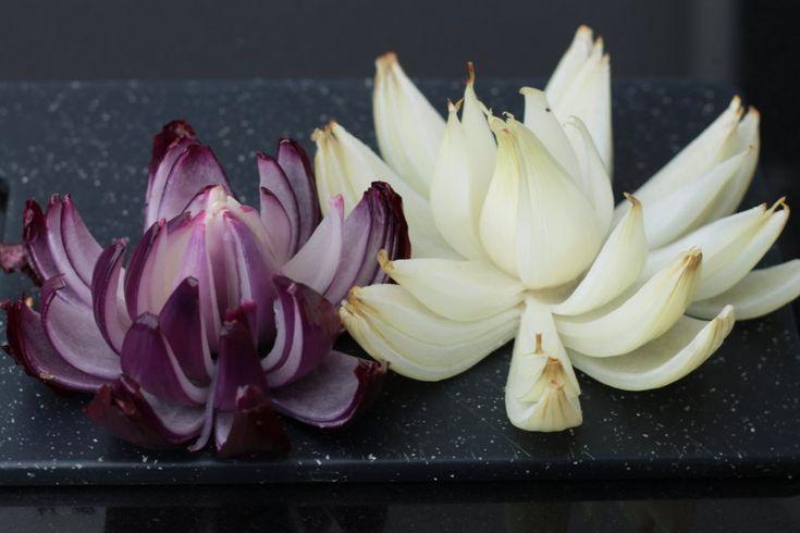 orchideli - kwiat z cebuli, onion flower, onion decoration, prosta dekoracja z bialej i czerwonej cebuli