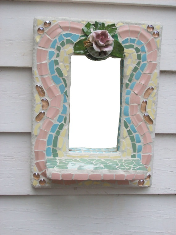 Broken China Mosaic Mirror Shelf Wall Art by cherylmillermosaics, $35,00