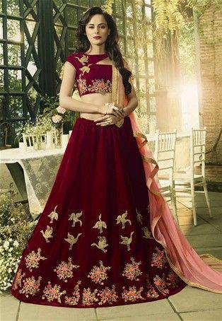 ae63bc699fd8ea Maroon Velvet Wedding Designer Flared Lehenga Choli #Bridal Lehenga Choli  #BridalLehenga #LenghaCholi #