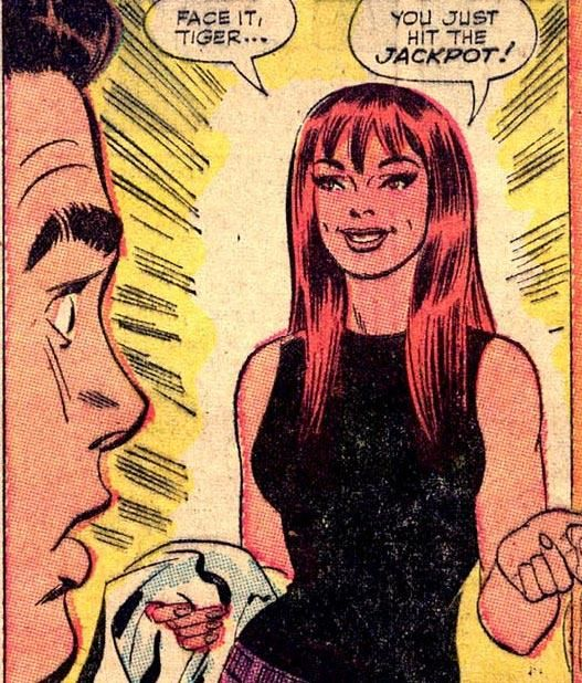 Face it tiger, you just it the jackpot. Classic Spider-Man panel introducing Mary Jane Watson for the first time. #comicbooks #spiderman