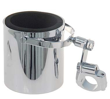 Chrome Motorcycle Cup Holder with Swivel Mount