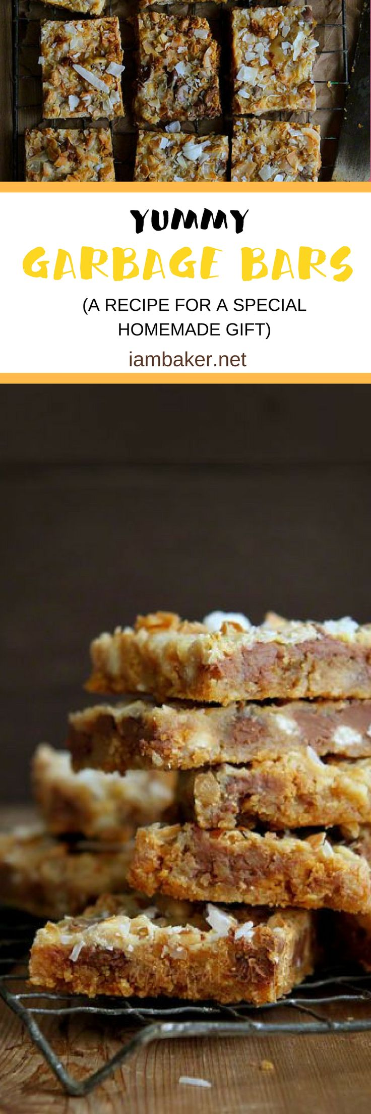 Garbage Bars | Learn to make a special homemade gift out of any of your favorite ingredients in your pantry! | iambaker.net