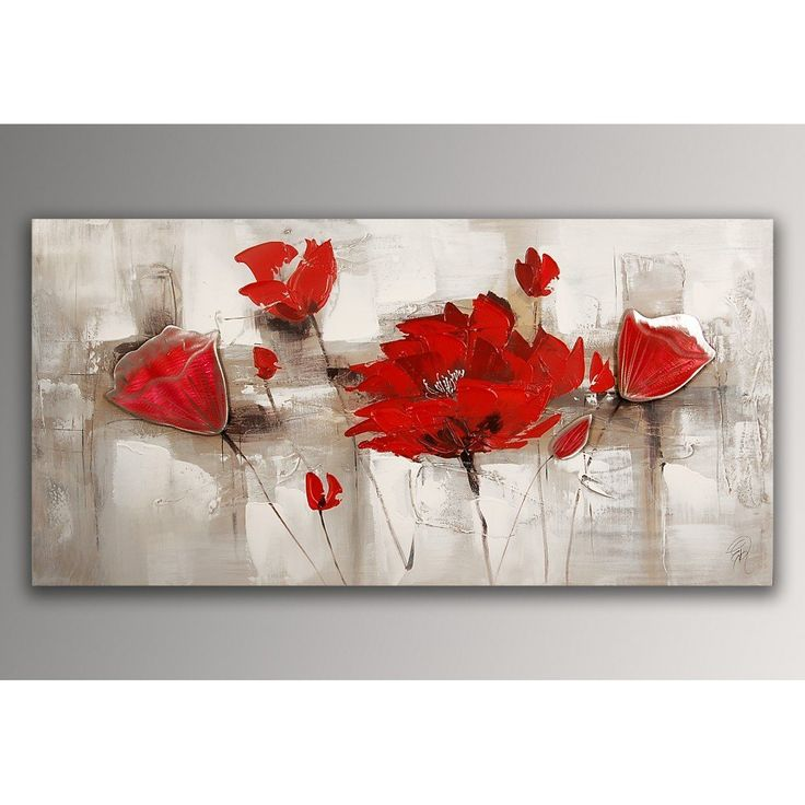 coquelicots rouges tableau floral modern peint la main sur toile avec chassis. Black Bedroom Furniture Sets. Home Design Ideas