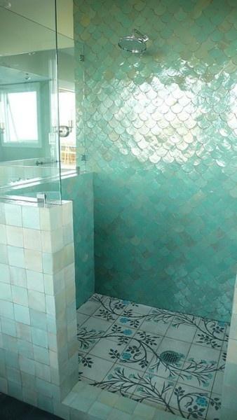 Lovely turquoise mermaid fin bathroom tile
