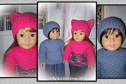 """Ravelry: 'ASHLEY' ~ 18"""" American Girl Doll Sweater Sets pattern by Tammie Goldthorpe"""