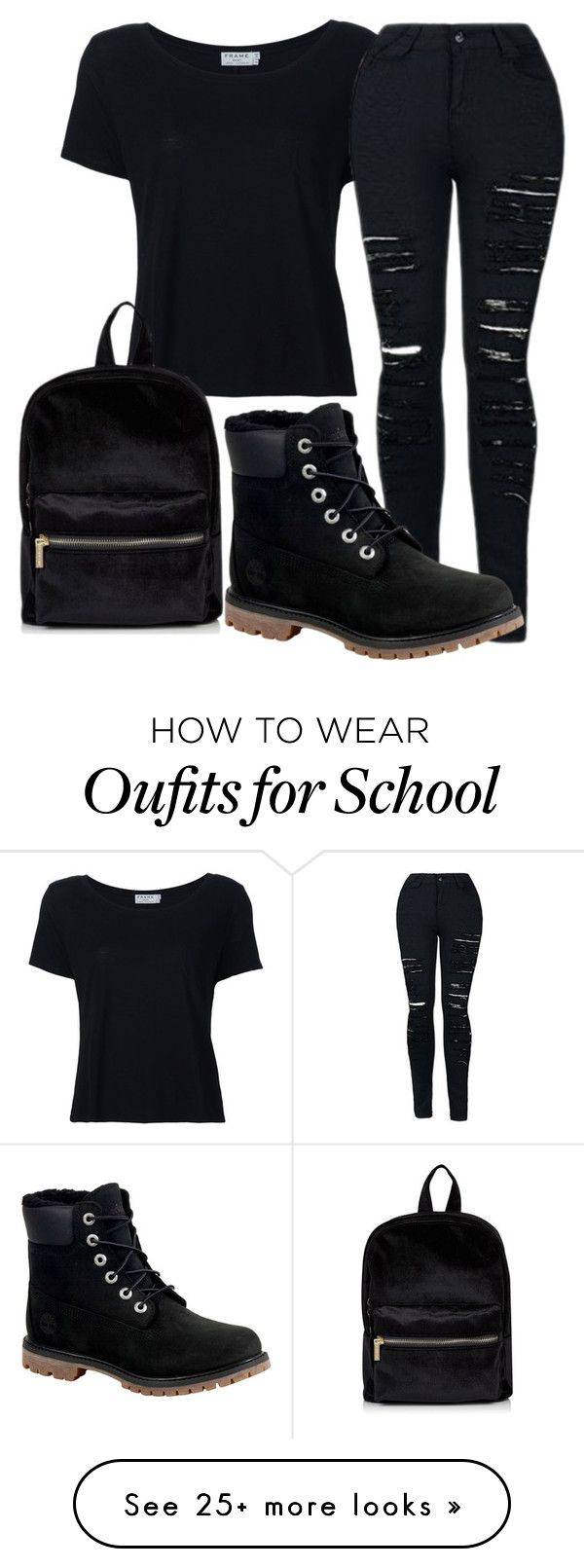 """""""School outfit"""" by adriacowell22 on Polyvore featuring Frame and Timberland"""