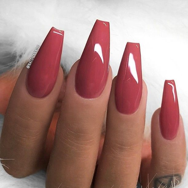 25 +> REPOST – – – – Mauve-Red on long coffin nails – – – – Image and nail design by …