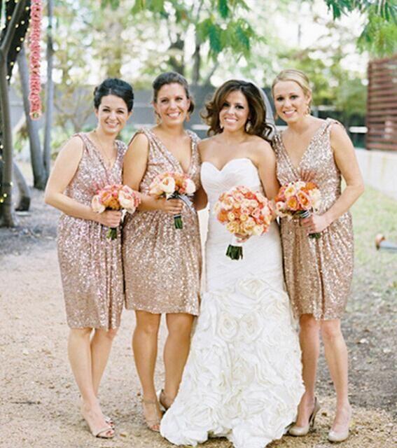 Gold Sequin Short Bridesmaid Dress, Sparkly Bridesmaid Dress,