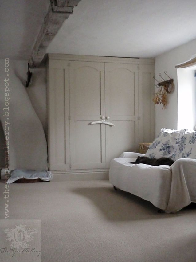 he Paper Mulberry - our master bedroom: the cupboards are painted in Farrow and Ball 'Stony Ground' shade 211.