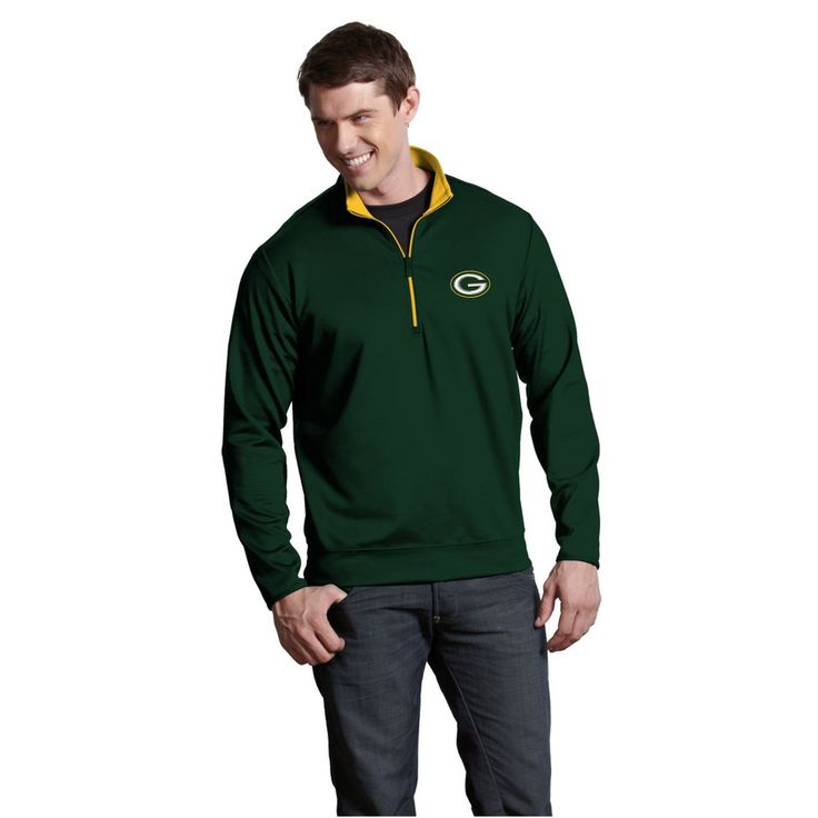 NFL Green Bay Packers Antigua Leader Quarter-Zip Pullover Jacket - Green