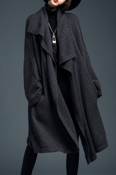 Lushijiao Deep Gray Batwing Long Sleeve Knitted Cardigan | Cardigans at DEZZAL