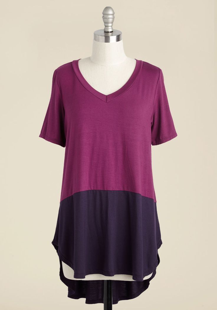 Contemplating equations? Considering your next masterpiece? You can conceive of anything in the soft comfort of this colorblocked tunic! Featuring a V-neckline and high-low hem, this magenta and purple top - a ModCloth exclusive - makes you comfy enough to envision your heart's desire for hours.