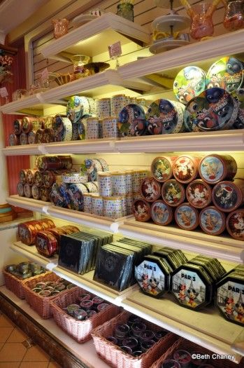 Guest Review: Street Food and Snacks at Disneyland Paris | the disney food blog There were huge displays of tinned chocolates, mostly in commemorative Disneyland Paris tins.