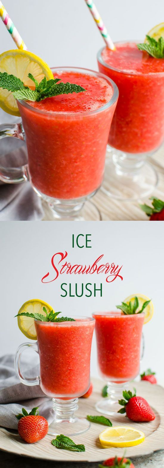 4 ingredients, 5 min preparation, 100 calories and naturally sweetened strawberry slush perfect to enjoy the warm weather