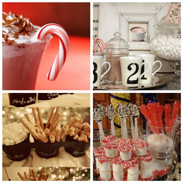 Hot chocolate bar - great for a christmas party.  I'm going to try to do something like that for our upcoming open house.  Unfortunately the site won't open now so going with the photos.
