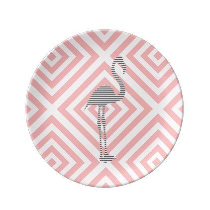 Flamingo - abstract geometric pattern - pink. dinner plate - pattern sample design template diy cyo customize