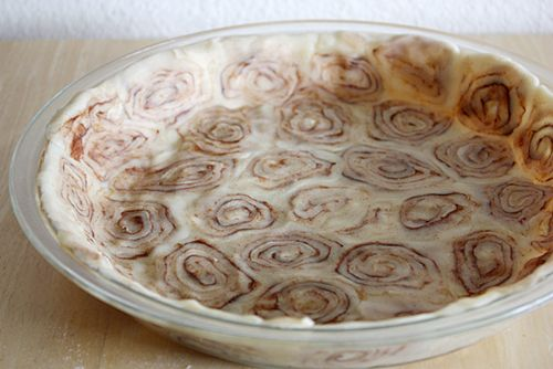 Sweet potato pie recipe with cinnamon roll crust. I think it would