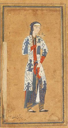 late 16 c. Northeast Iran. Portrait of a beautiful Zulaykha wearing a white coat decorated with figural representations in blue surrounded by flowering plants and trees, and geometric patterned garments and holding a flower in her left hand and a white floral cloth purse in her right hand, with gold and polychrome rules on scrolling floral margins on white ground.   Christies