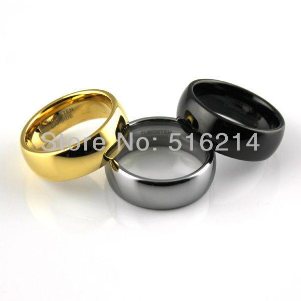 Wolfraamcarbide ring 3pcs/lot, comfort fit mannen sieraden, zilver en zwart& goud kleur, trouwringen, nieuwe maten 7 tur1