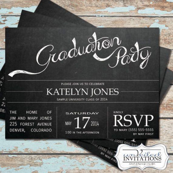Invitación fiesta de graduación para imprimir  pizarra