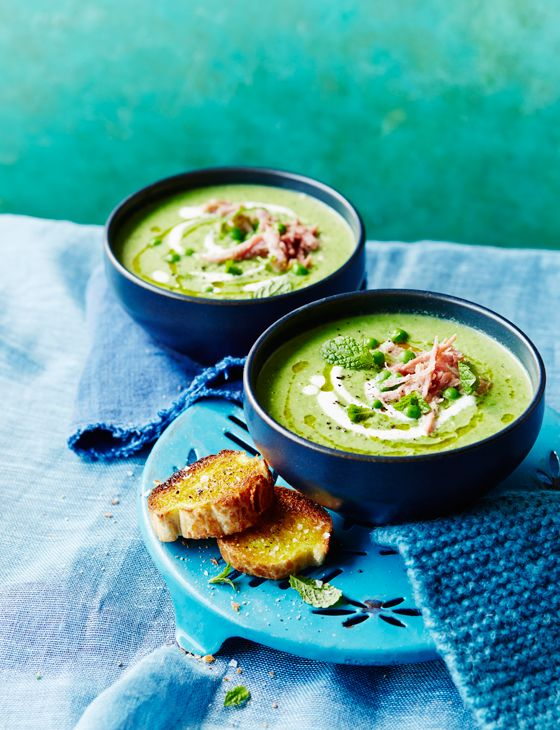 This quick, delicious and year-round pea and mint soup with ham hock from http://www.sainsburysmagazine.co.uk/recipes/starters/soup/item/pea-and-mint-soup-with-ham-hock is going down a storm.