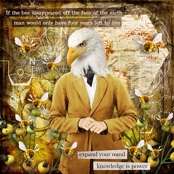 The Bees © Beth Todd - All Rights Reserved Created with 'Monthly Mischief - Knowledge - Designer Mash-up Collection'@ MischiefCircus.com. Digital image kits for your art, collage, mixed media art and scrapbooking.#photomanipulation #digital #art #scrapbook #collage #artjournaling #atc