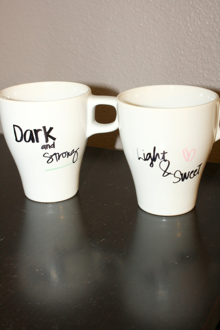 Light & Dark Coffee Cups--these look like cups from Ikea :D