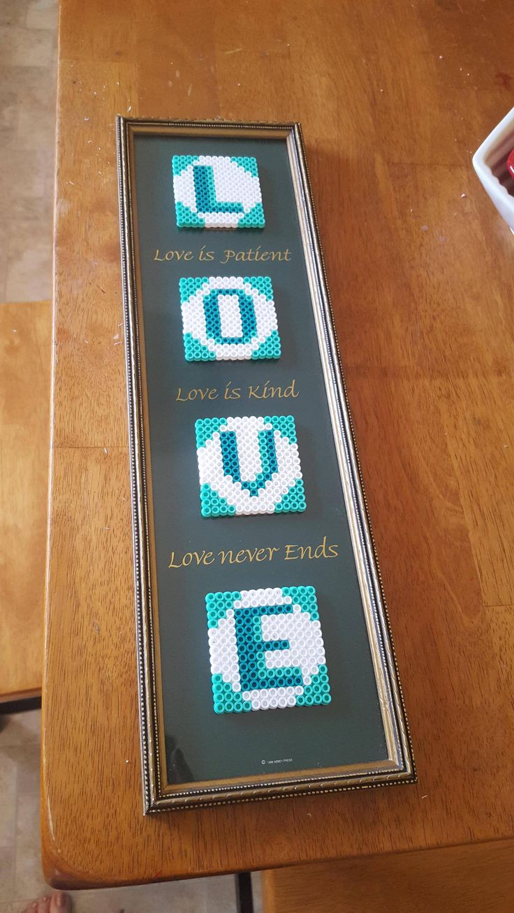 Love perler bead art by kupkakekhaos